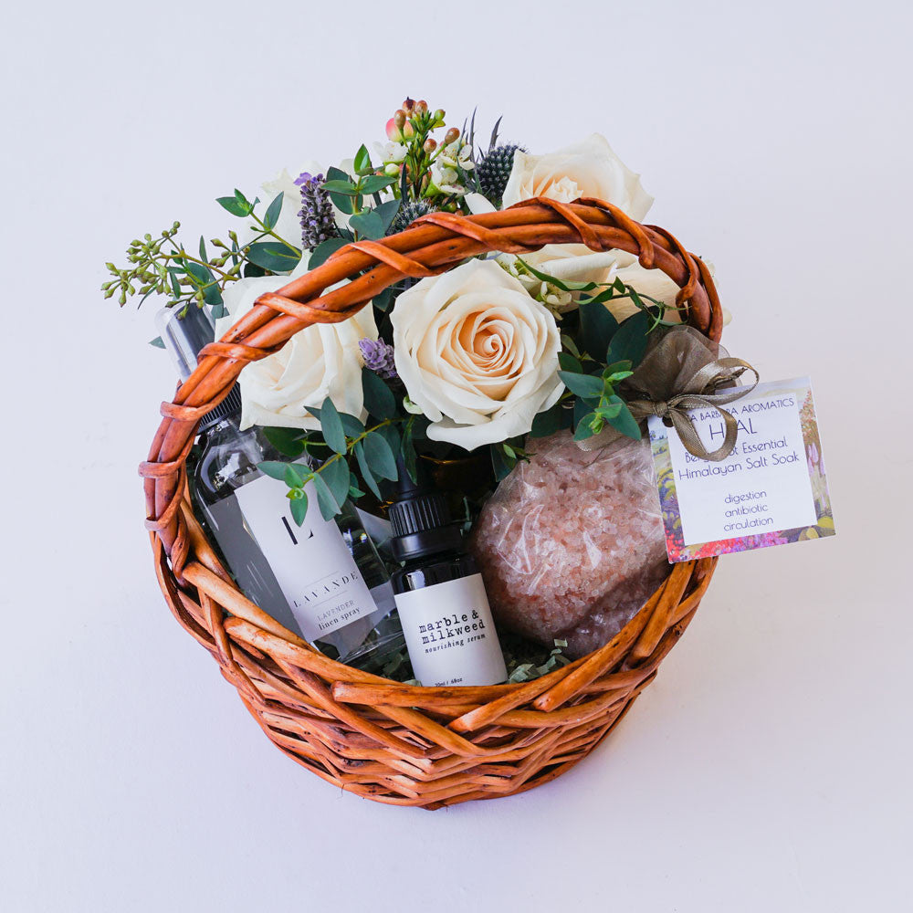 Nourish and Heal Gift with Flowers Floral Gifts - The Santa Barbara Company Floral Gifts, The Santa Barbara Company