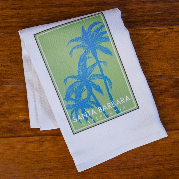 Palm of Santa Barbara Blue/Green Towel