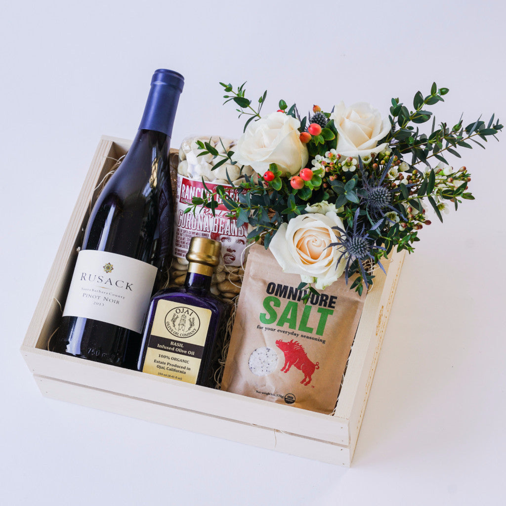 The Foodie Gift Box with Flowers Wine Gift Baskets - Assorted/Gifts, The Santa Barbara Company