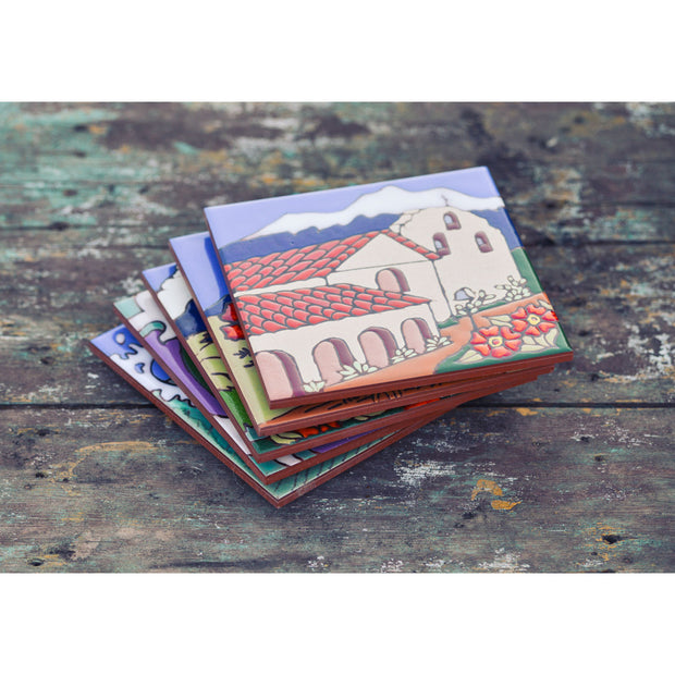 Santa Barbara Mission Tile Trivet Coasters & Trivets - Pacific Blue Tile, The Santa Barbara Company - 3