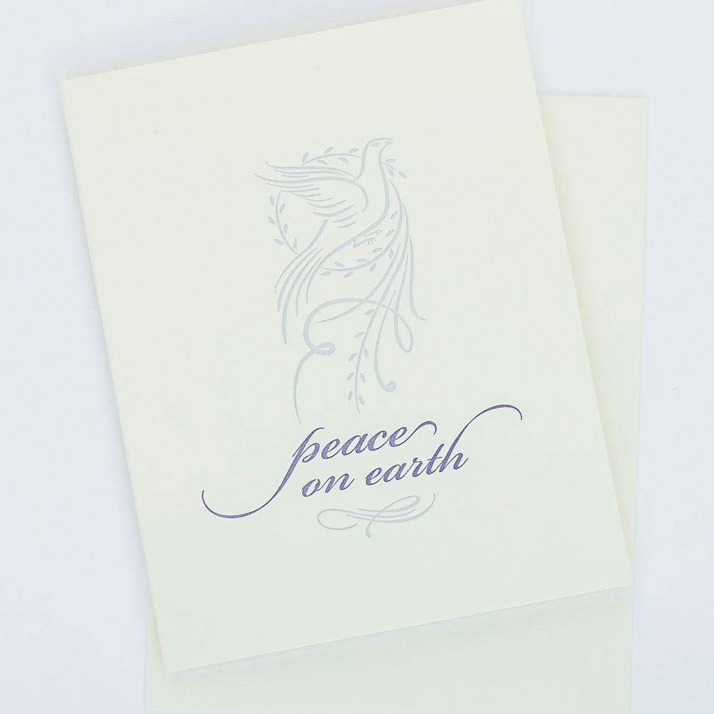 Peace on Earth Letterpress Card Single Note Cards - Red Oak Letterpress, The Santa Barbara Company