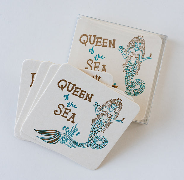Queen of the Sea Letterpress Coasters