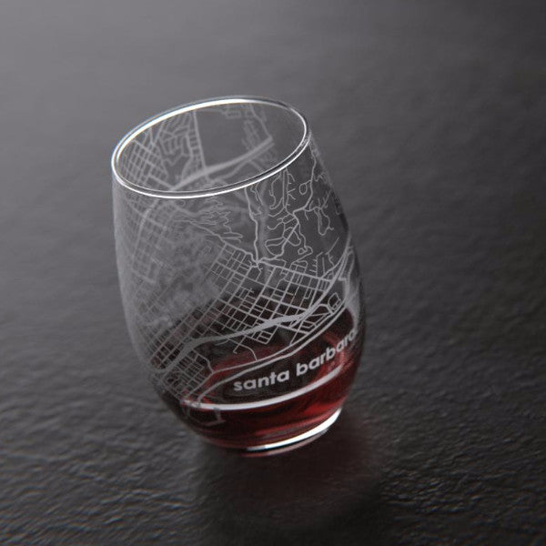 Map of Santa Barbara Stemless Wine Glass
