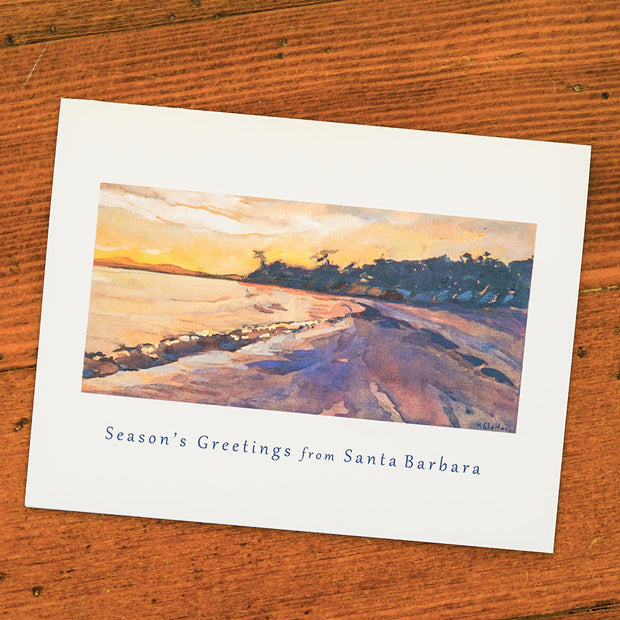 Season's Greetings Butterfly Beach Eve Card Single Note Cards - Karin Shelton, The Santa Barbara Company