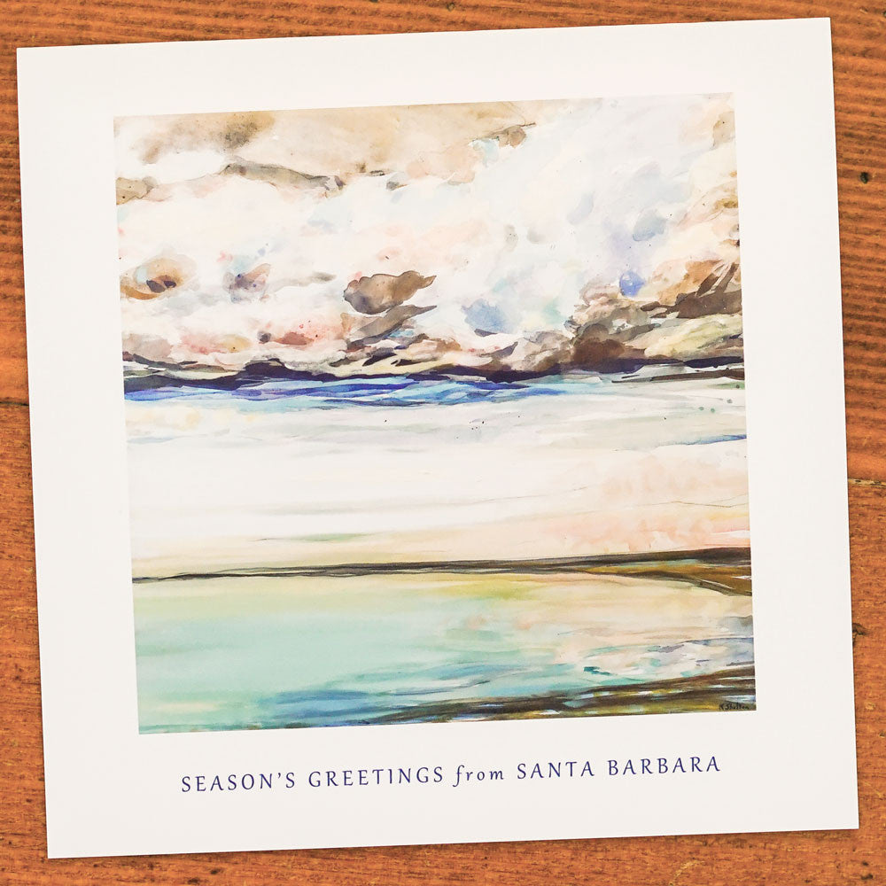 Season's Greetings Santa Barbara Beach Card Single Note Cards - Karin Shelton, The Santa Barbara Company - 1