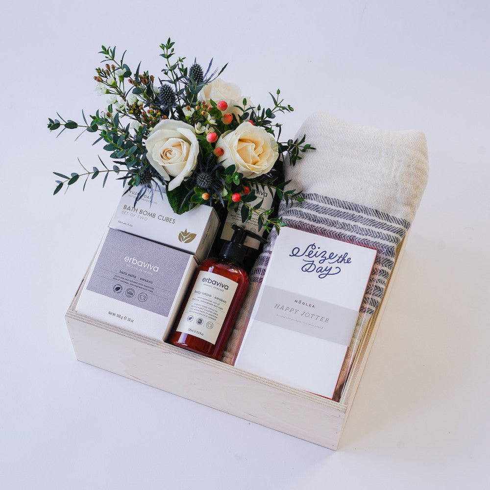 Seize the Day Bath Gift Box with Flowers   Delivery in Santa Barbara ...