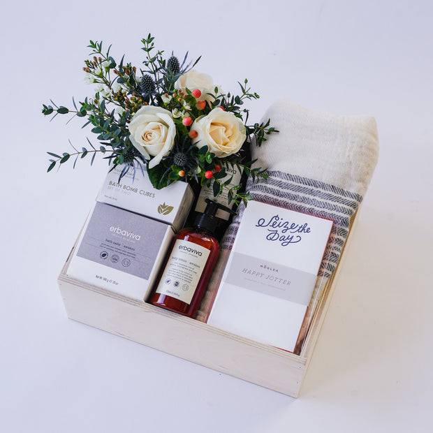 Seize the Day Bath Gift Box with Flowers Floral Gifts - The Santa Barbara Company Floral Gifts, The Santa Barbara Company