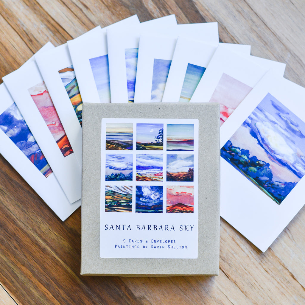 Santa Barbara Sky Watercolor Note Cards Karin Shelton - Karin Shelton, The Santa Barbara Company