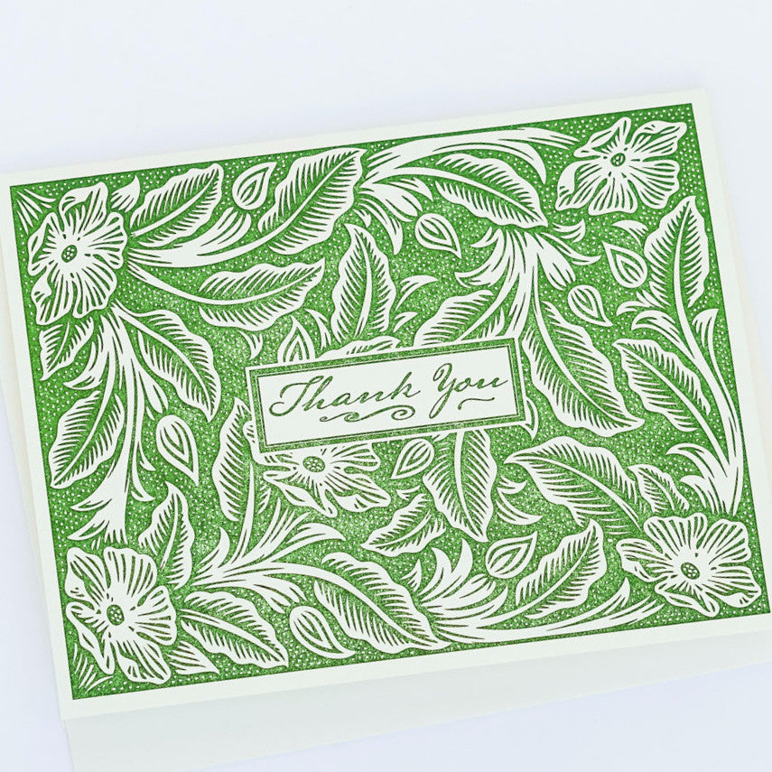Botanical Thank You Letterpress Card Stationery and Calendars - Red Oak Letterpress, The Santa Barbara Company