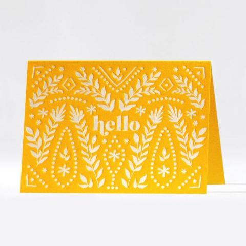 Golden Hello Letterpress Note Card