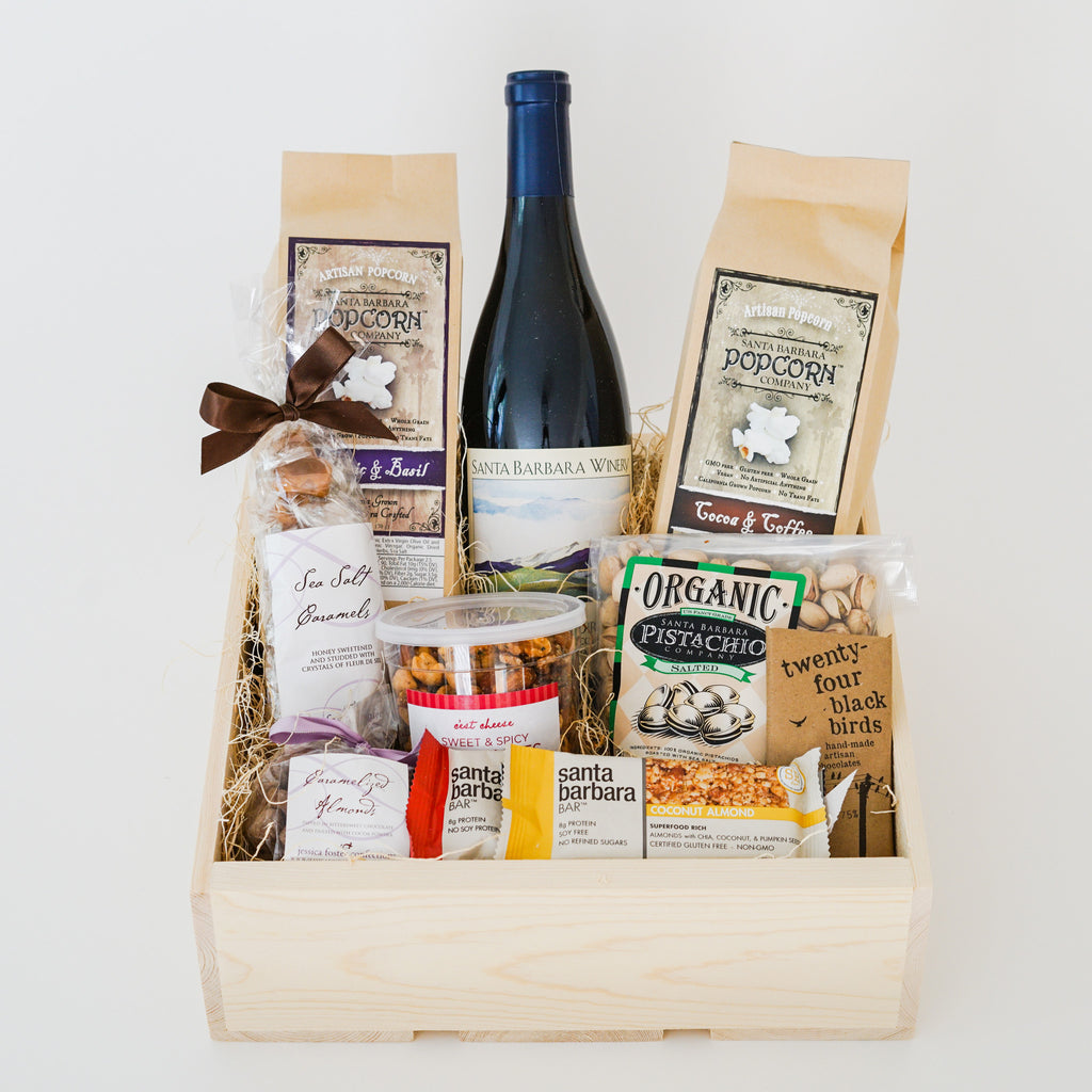 Wine and Snacks Gift Crate Wine Gift Baskets - Assorted/Gifts, The Santa Barbara Company - 1