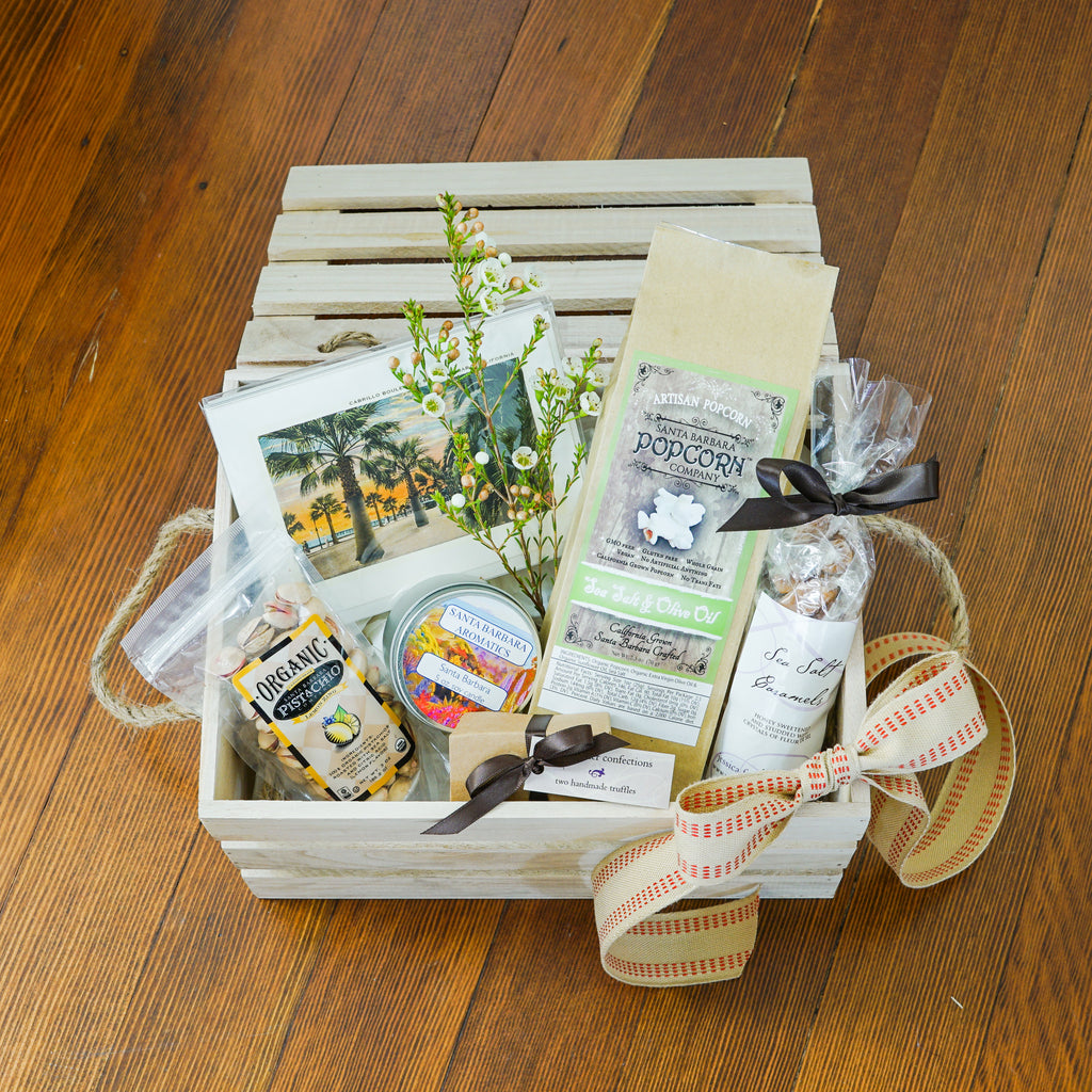Santa Barbara Welcome Wood Gift Box Local Delivery Gifts - Assorted/Gifts, The Santa Barbara Company