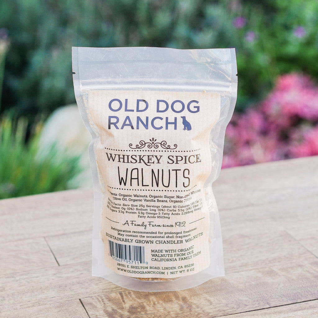 Whiskey Spice California Walnuts Snacks and Candies - Old Dog Ranch, The Santa Barbara Company