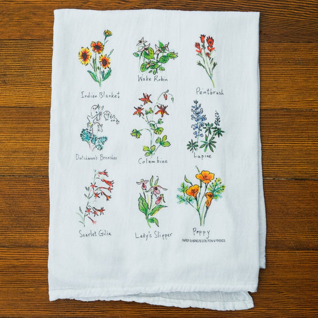 Wildflowers Flour Sack Towel Kitchen Towels - Papersharks, The Santa Barbara Company - 2