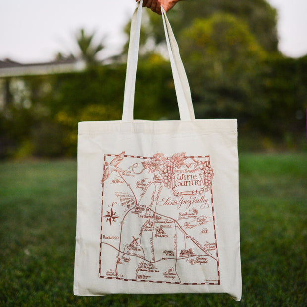 Santa Ynez Wine Country Map Tote Totes - Lazaro Press, The Santa Barbara Company