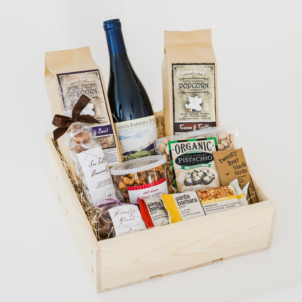Wine and Snacks Gift Crate Wine Gift Baskets - Assorted/Gifts, The Santa Barbara Company - 2