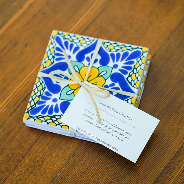 Laila Yellow Ceramic Tile Coasters Santa Barbara Company