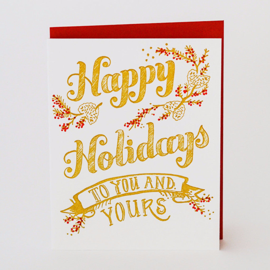 You and Yours Holiday Letterpress Card Christmas/Holidays - Sugarcube Press, The Santa Barbara Company