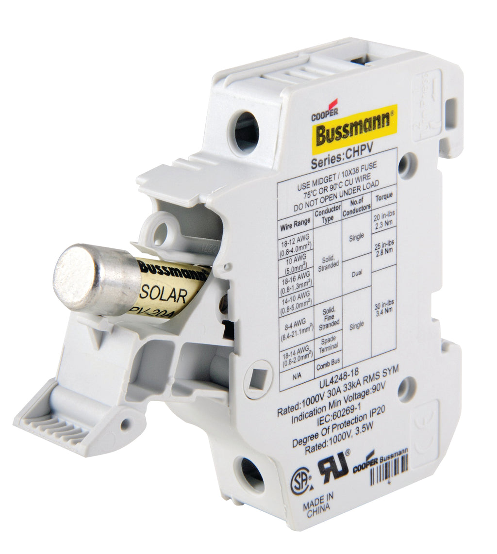 Bussmann Fuse Holder 1P 30A 1kV DC 10x38mm - Rubicon Partner Portal