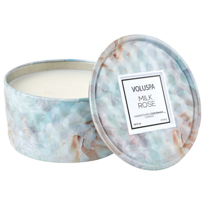 VOLUSPA MILKROSE 6OZ TIN CANDLE 5225