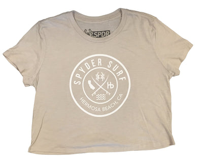 SPYDER SURFBOARDS HERMOSA BEACH O IN O WOMEN'S CROPPED TEE JARLTJOINOWCROP