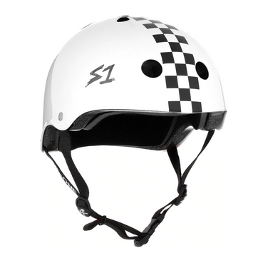 S1 Lifer Helmet White Gloss Checker - Spyder Surf