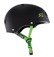 S1 Lifer Helmet Black Matte Bright Green Straps - Spyder Surf