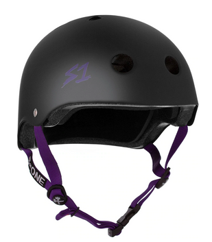 S1 Lifer Helmet Black Matte Purple Straps - Spyder Surf