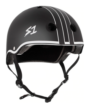 S1 Lifer Helmet Black Matte White Outline - Spyder Surf