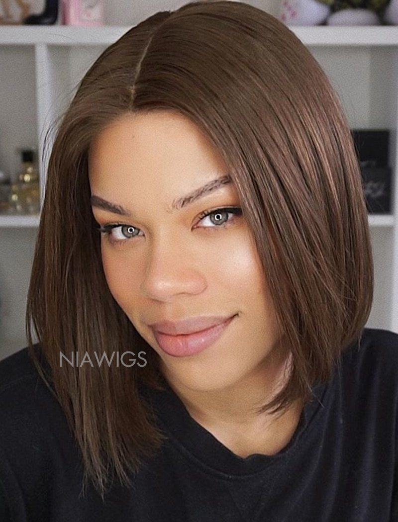 Load image into Gallery viewer, Emily||Virgin Hair 10 Inches Lace Front Wig #4 Medium Brown