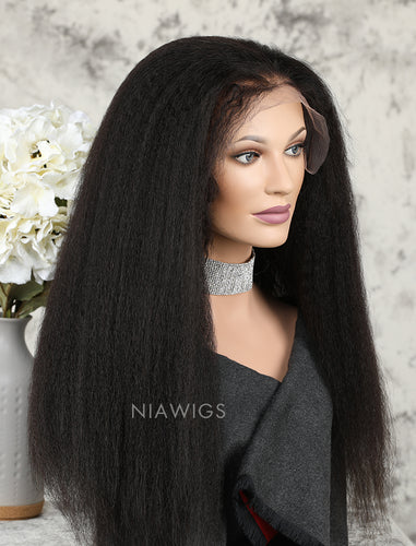 [Wig 5.0] Kinky Straight Human Hair Upgraded Lace Front Wigs With Natural Hairline