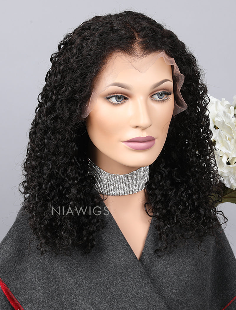 Load image into Gallery viewer, Silk Base Curly Human Hair Lace Front Wig With Baby Hair