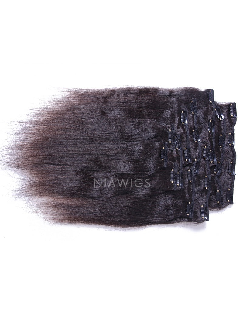 Load image into Gallery viewer, Clip-In Hair Extensions Brazilian Hair Yaki Straight
