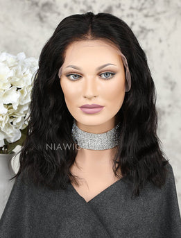 Fashion Bob Cut Natural Wavy Human Hair Full Lace Wigs