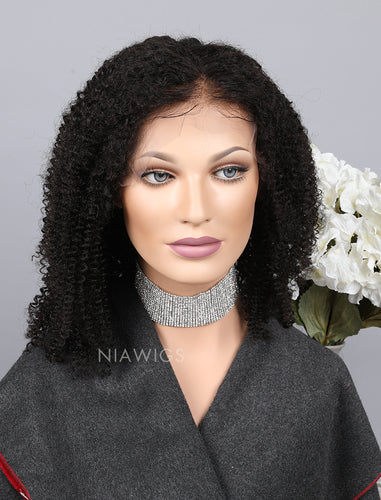 Silk Base Kinky Curly Human Hair Lace Front Wigs With Baby Hair
