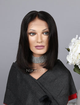 Blunt Cut Short Bob Human Hair Lace Front Wigs Silky Straight