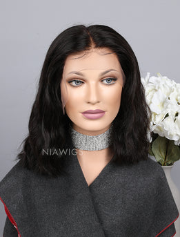Silk Base Natural Wavy Bob Cut Human Hair Full Lace Wigs