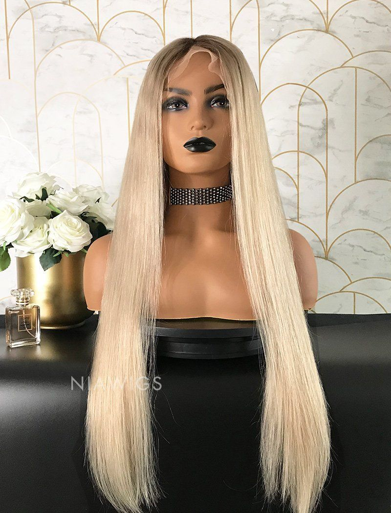 Load image into Gallery viewer, Sarah||Remy Hair Lace Front Wig 24 Inches Black Roots & Silvery  Blonde