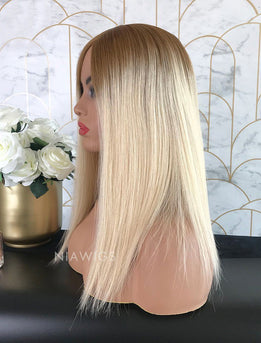 Lisa||Remy Hair 16 Inches Lace Front Wig Ombre #1B/Blonde