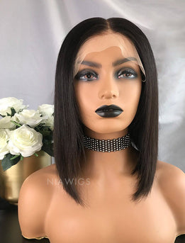 Babs||Virgin Hair 12 Inches Lace Front Wig Natural Black