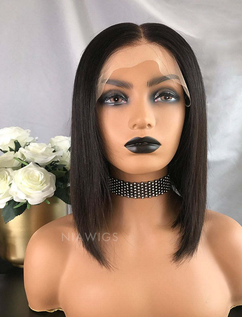 Load image into Gallery viewer, Babs||Virgin Hair 12 Inches Lace Front Wig Natural Black