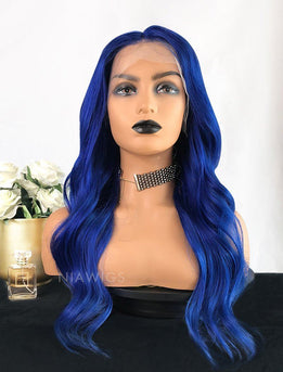 Murray||Remy Hair 20 Inches Lace Front Wig Blue