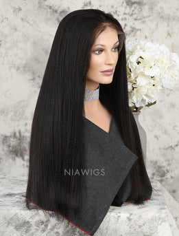 Yaki Straight Human Hair Lace Front Wigs With Natural Hairline