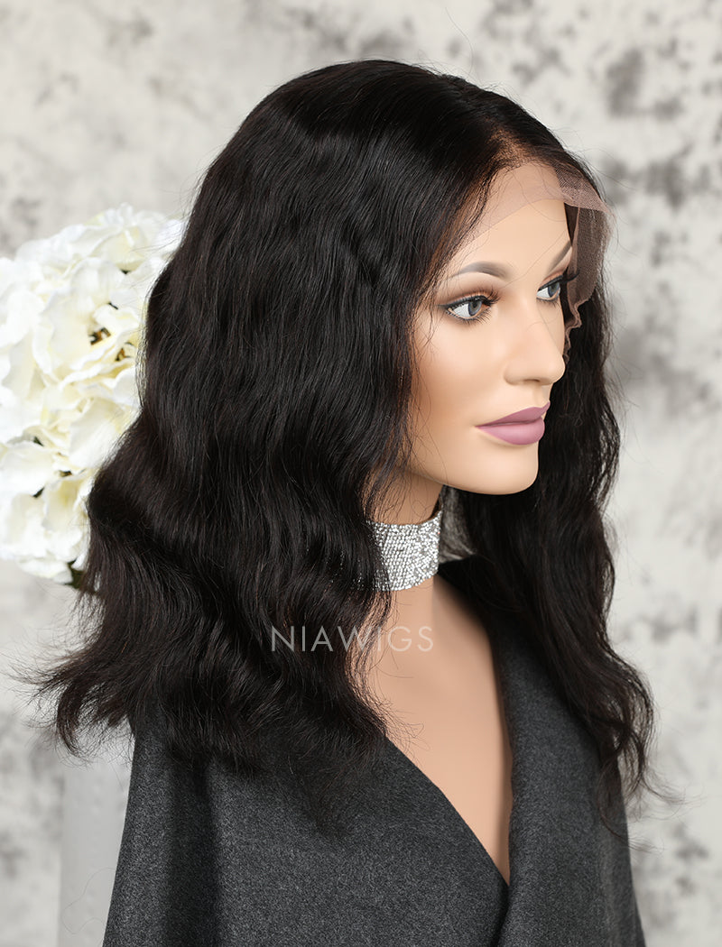 Load image into Gallery viewer, Silk Base Bob Wavy Human Hair Full Stretchable Lace Wigs