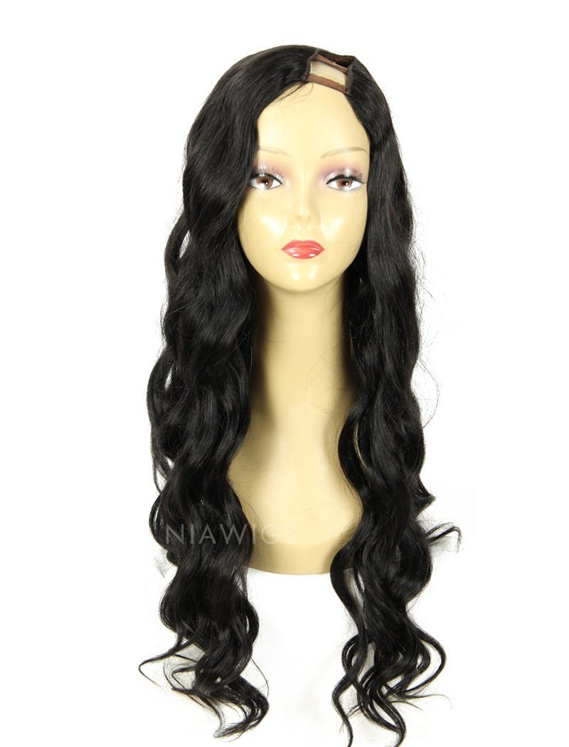 Load image into Gallery viewer, Loose Wavy U Part Human Hair Wig Jet Black Upart Wigs