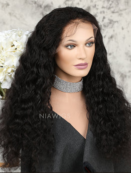 Silk Base Loose Curly Human Hair Full Stretchable Lace Wigs