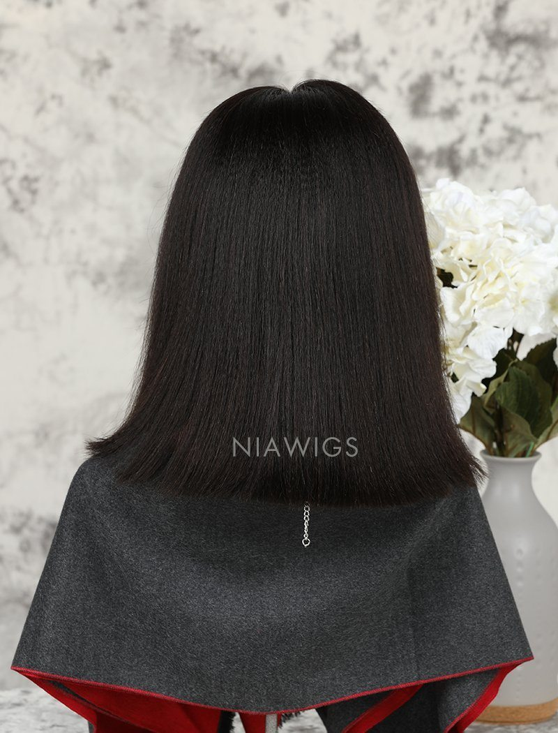 Load image into Gallery viewer, Yaki Straight Short Bob Human Hair Glueless Full Stretchable Wigs