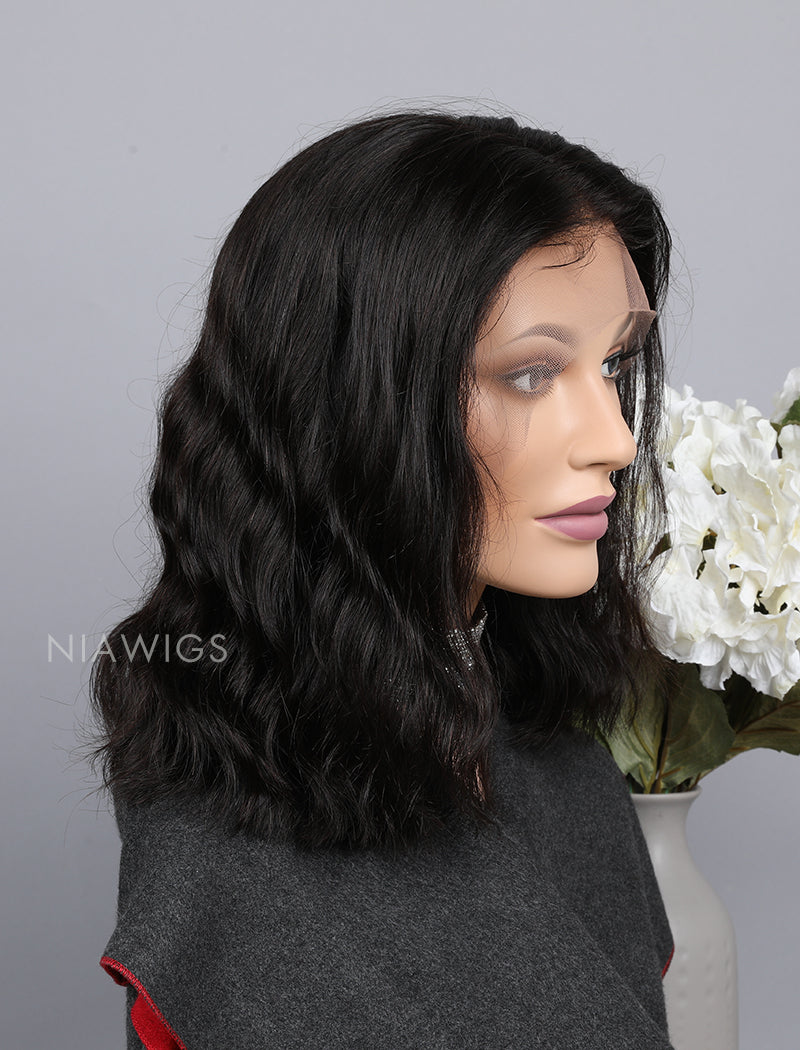 Load image into Gallery viewer, Silk Base Natural Wavy Bob Cut Human Hair Full Lace Wigs
