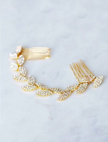 Retro Crystal Wedding Accessories Bridal Metal Hair Comb