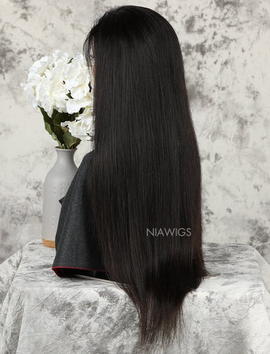Silky Straight Stock Wig Human Hair Natural Color Machine Made Wigs